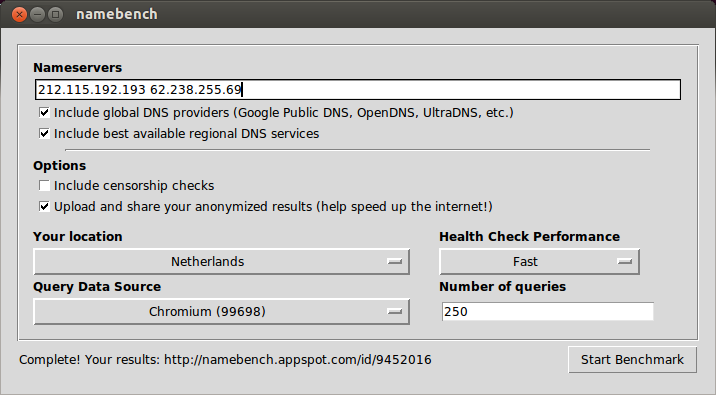 Namebench screenshot on Ubuntu 13.04 Raring Ringtail